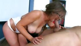 Filthy whorish bitch is drilled with heavy dick