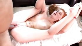 Breathtaking horny bitch is jerking the schlong